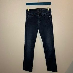 7 for all mankind straight leg black jeans sz 26